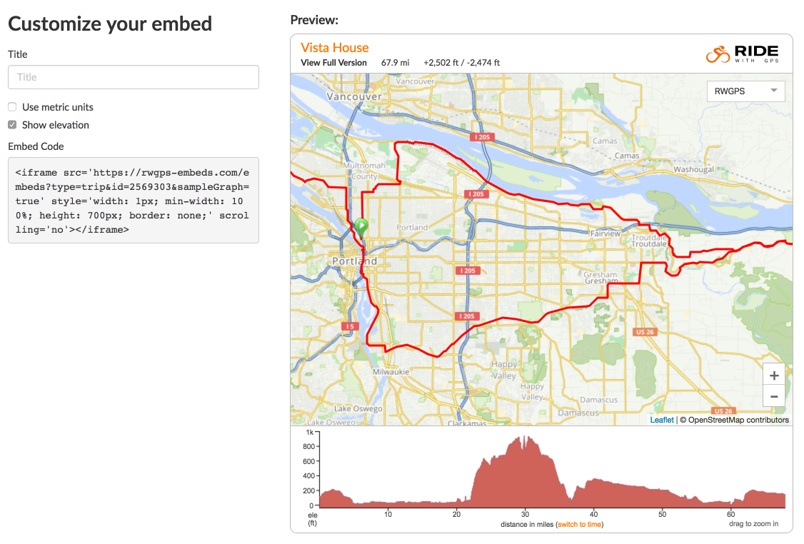 Embed a map on your own website | Ride With GPS Help on xml code, time code, embed code, twitter code, em code, map code, json code, area code, silverlight code, style code, java code, mii code, jquery code,
