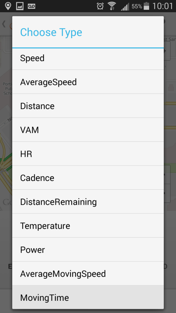 Android Select Metric