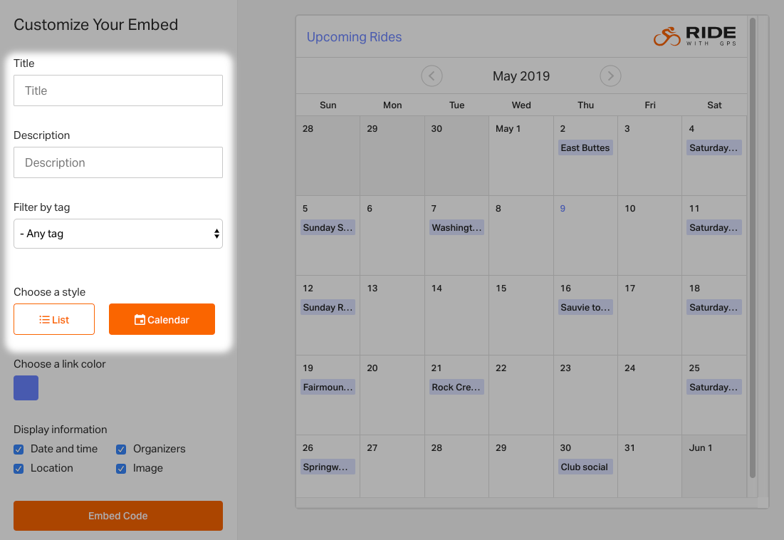 Embedding the Club Event Calendar | Ride With GPS Help