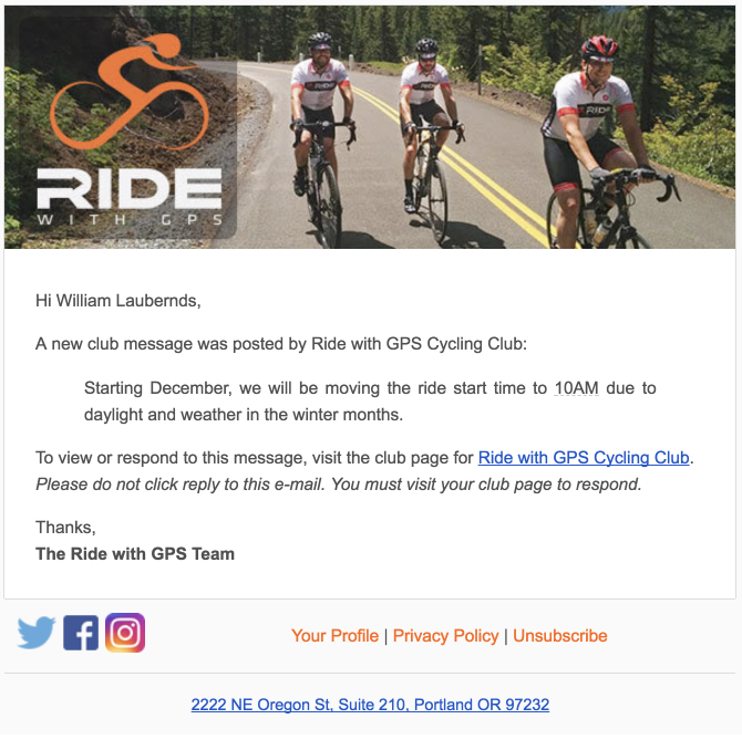 Club Messaging | Ride With GPS Help