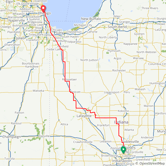 Map image of a Route from April  2, 2019