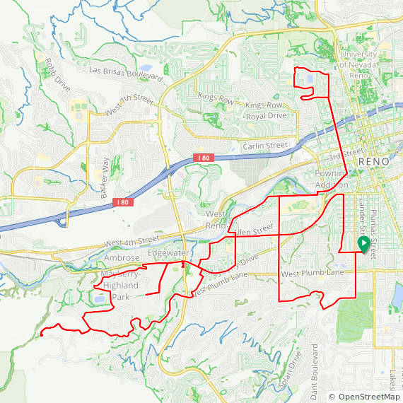 Map image of a Route from July 30, 2019
