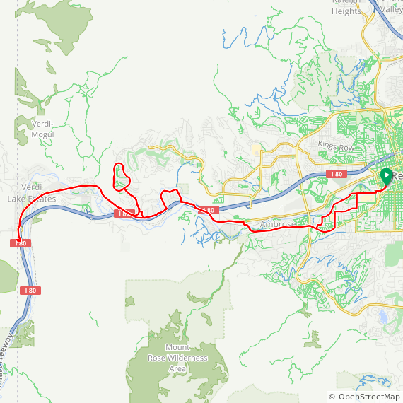 Map image of a Route from August 26, 2019