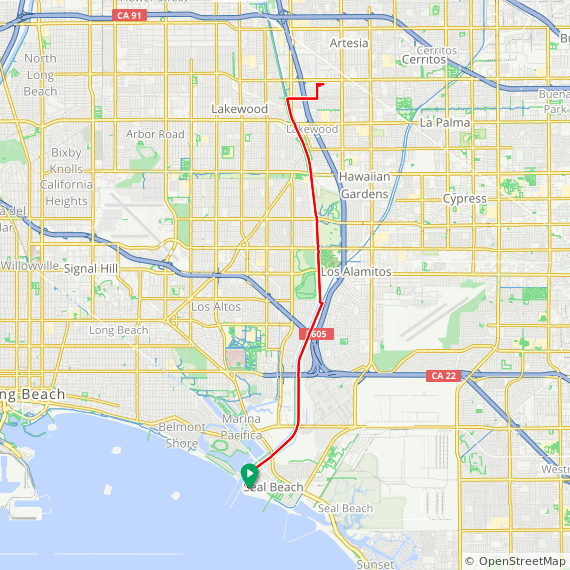 Map image of a Route from October 25, 2019
