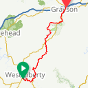 Map image of a Route from August 28, 2016