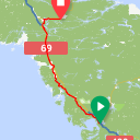 Map image of a Route from September 25, 2016