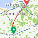 Map image of a Route from July  3, 2015