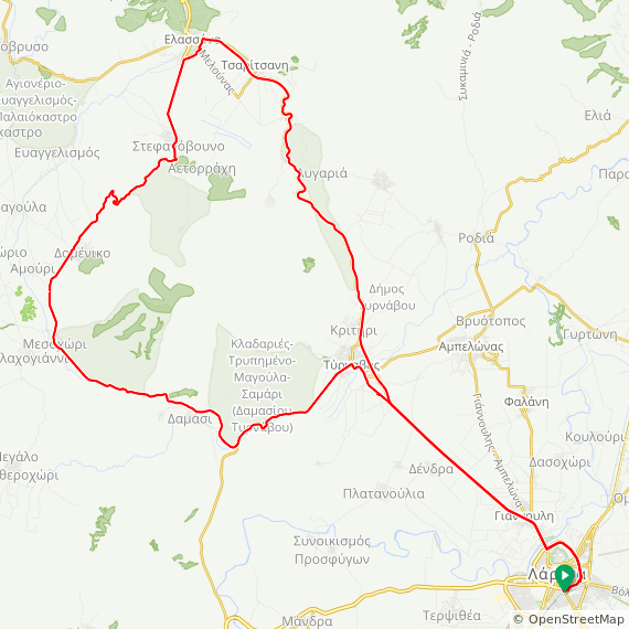 Map image of a Trip from December 26, 2013