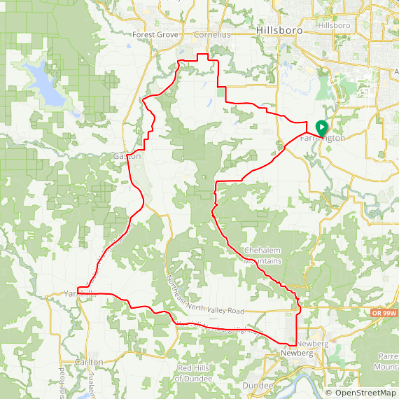Map image of a Trip from April 16, 2011