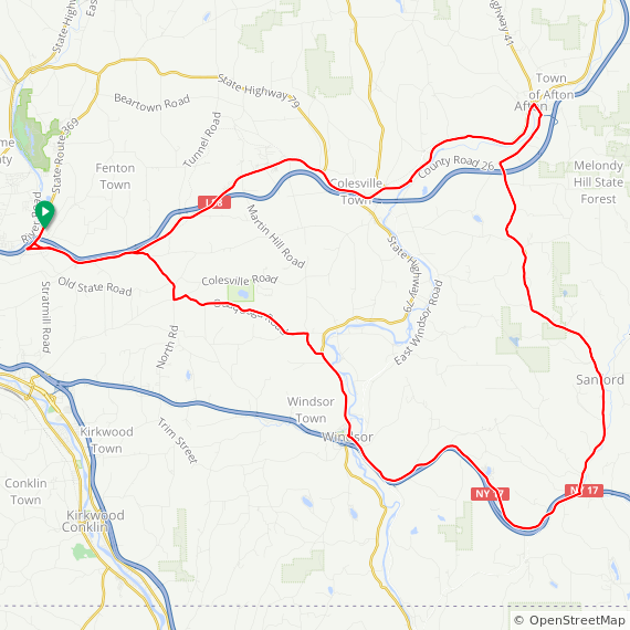 Map image of a Trip from October  9, 2011