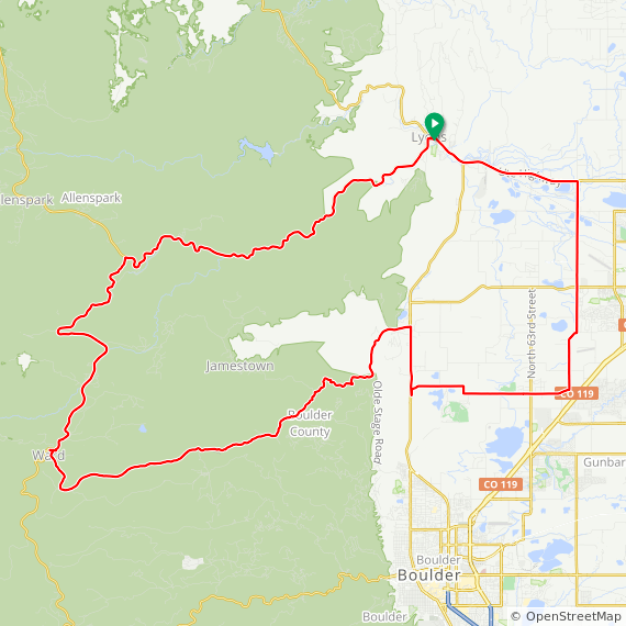 Map image of a Trip from July 15, 2012