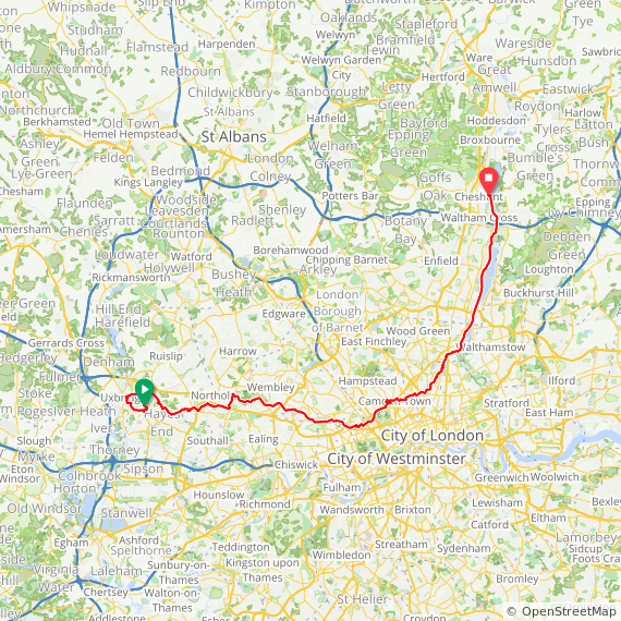 Map image of a Trip from January 12, 2013