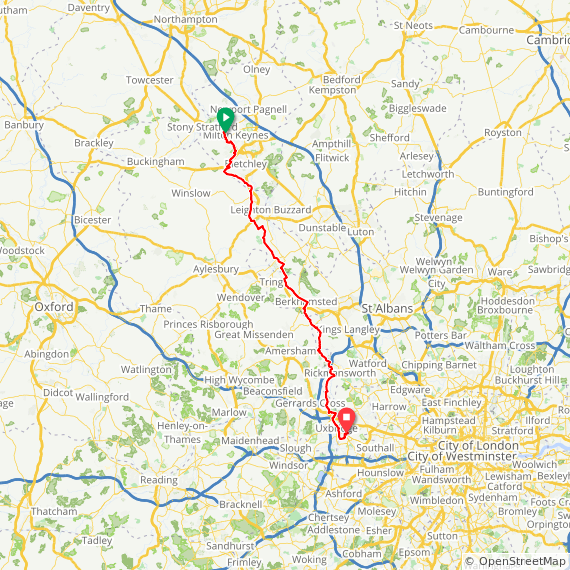 Map image of a Trip from February 23, 2013