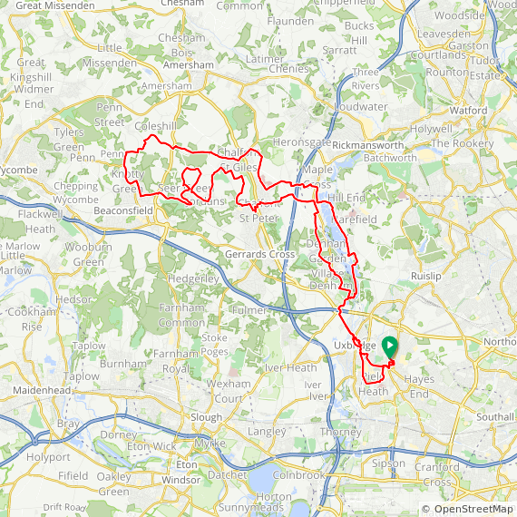 Map image of a Trip from March  6, 2013