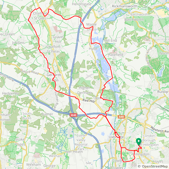 Map image of a Trip from December  4, 2016