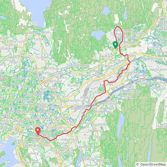 Map image of a Trip from December 14, 2016