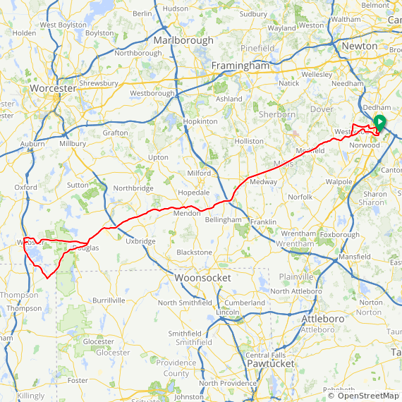 Map image of a Trip from October 31, 2010