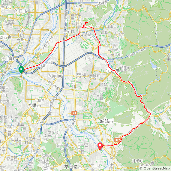 Map image of a Trip from April  1, 2017
