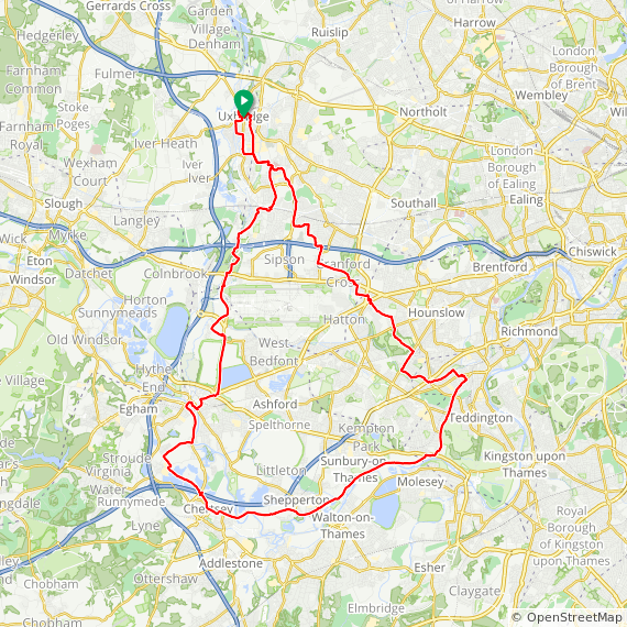 Map image of a Trip from April 12, 2017