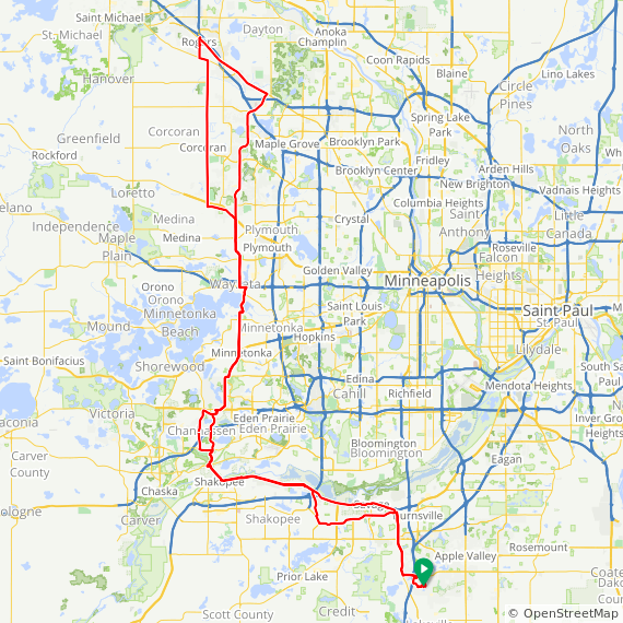 Map image of a Trip from May  9, 2017