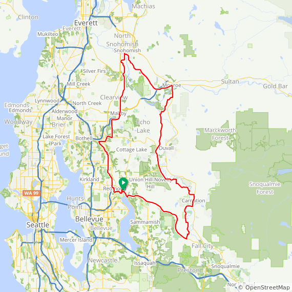 Map image of a Trip from June 30, 2013