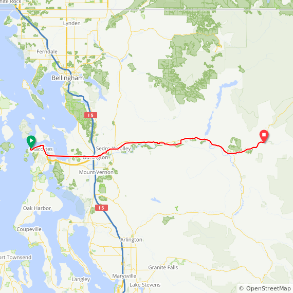 Map image of a Trip from July  1, 2017