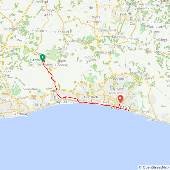 Map image of a Trip from August 29, 2013