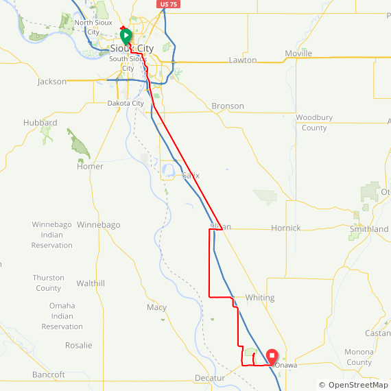 Map image of a Trip from September 13, 2017