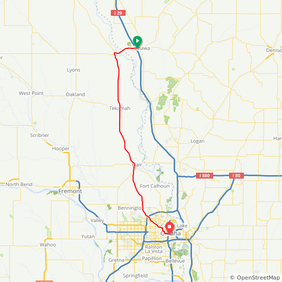 Map image of a Trip from September 14, 2017