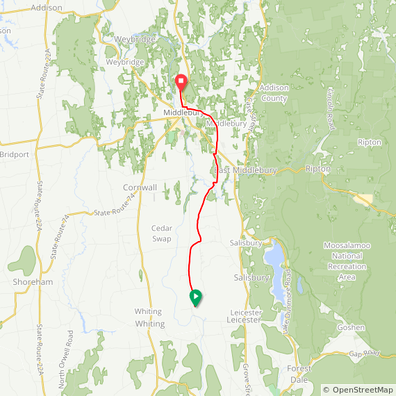 Map image of a Trip from October 29, 2017