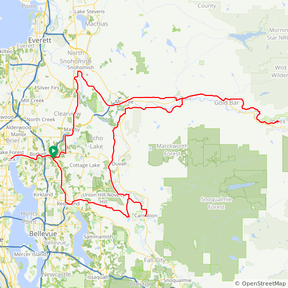 Map image of a Trip from December  3, 2017