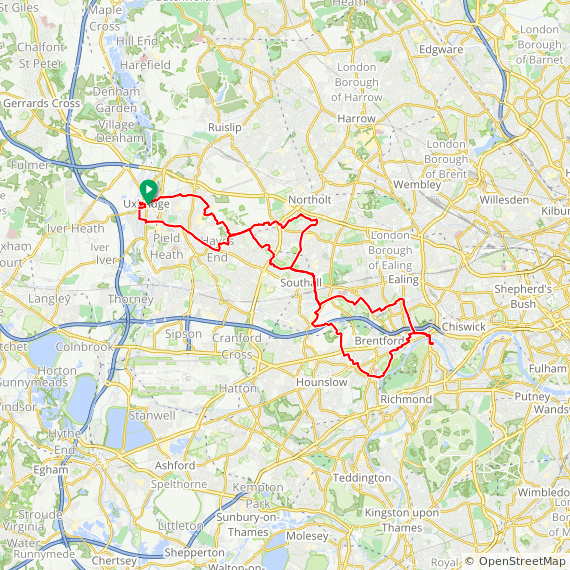 Map image of a Trip from December  6, 2017