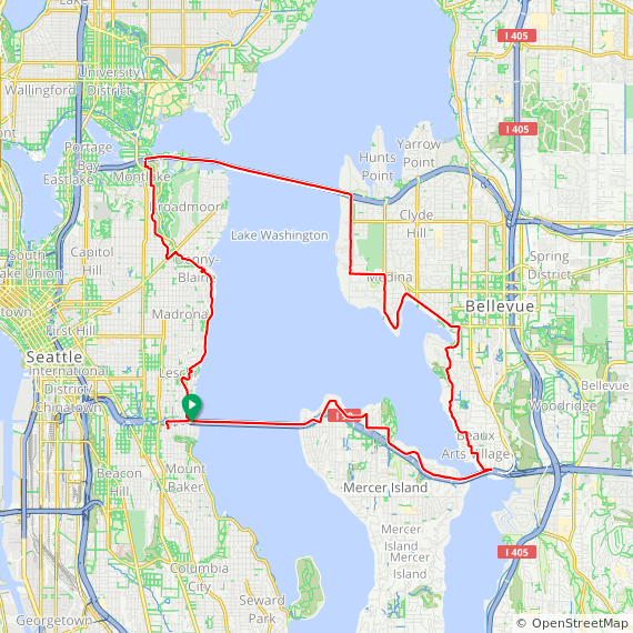 Map image of a Trip from January 13, 2018
