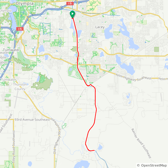 Map image of a Trip from January 14, 2018