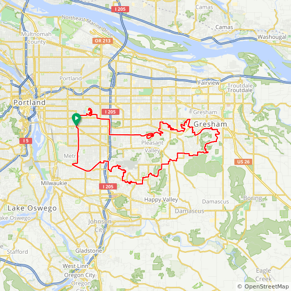 Map image of a Trip from February  4, 2018