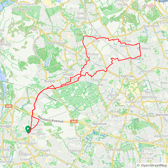Map image of a Trip from March 29, 2018