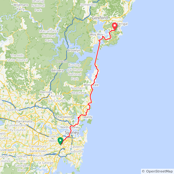 Map image of a Trip from April  1, 2014