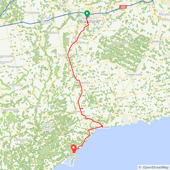 Brantford to Turkey Point Provincial Park via Port Dover