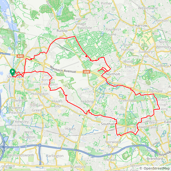 Map image of a Trip from March 17, 2019