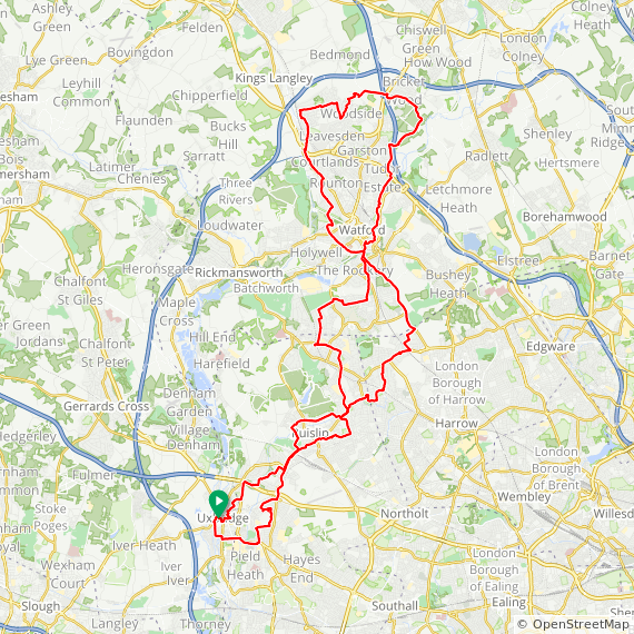 Map image of a Trip from March 20, 2019