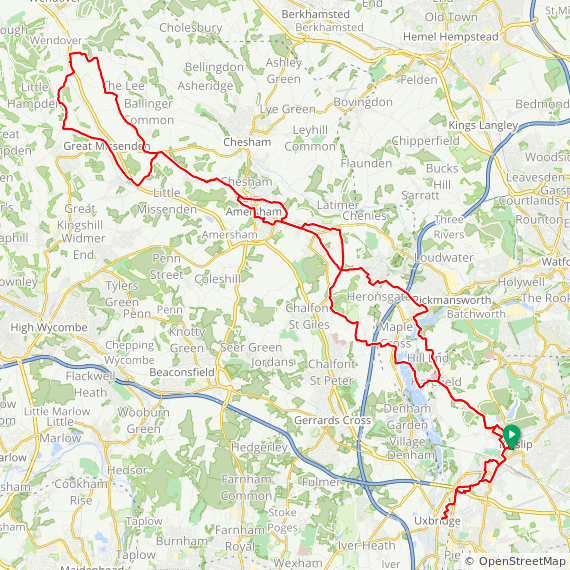 Map image of a Trip from March 25, 2019