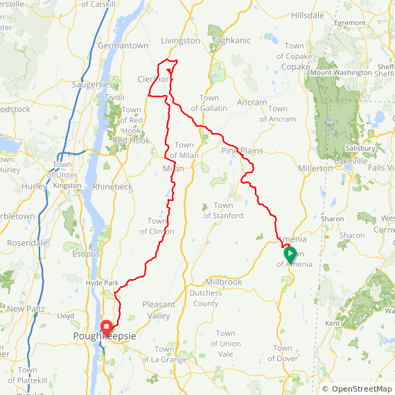 Map image of a Trip from April 22, 2019