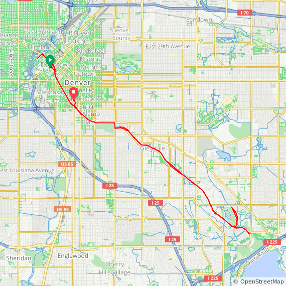 Map image of a Trip from September 11, 2014