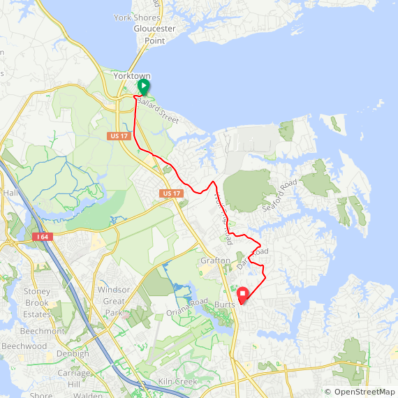 Map image of a Trip from May 17, 2019