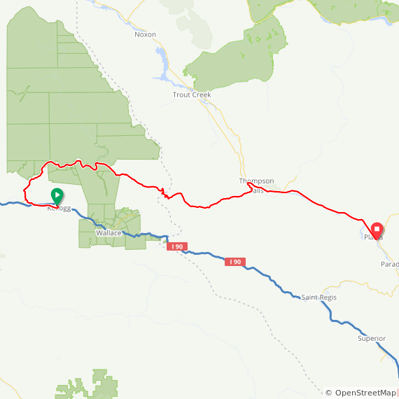Map image of a Trip from September 24, 2014