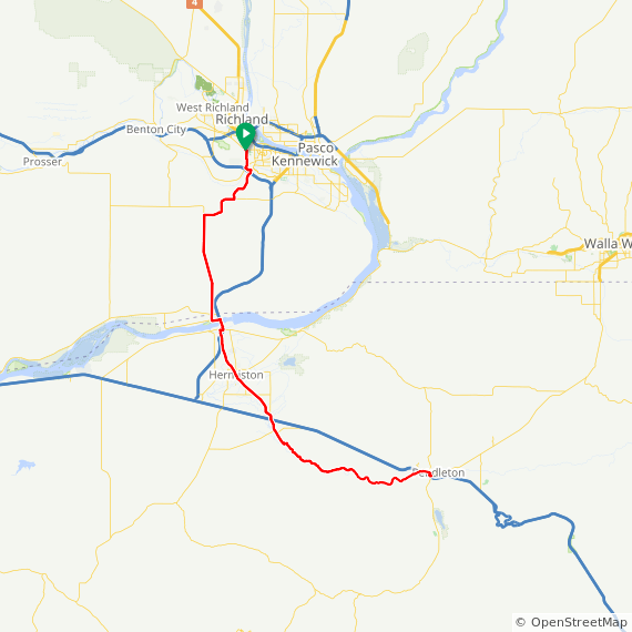 Map image of a Trip from October 19, 2014