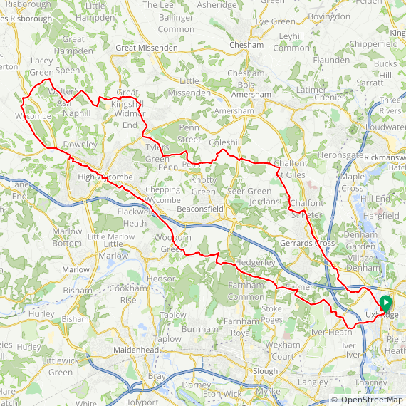 Map image of a Trip from July  1, 2019