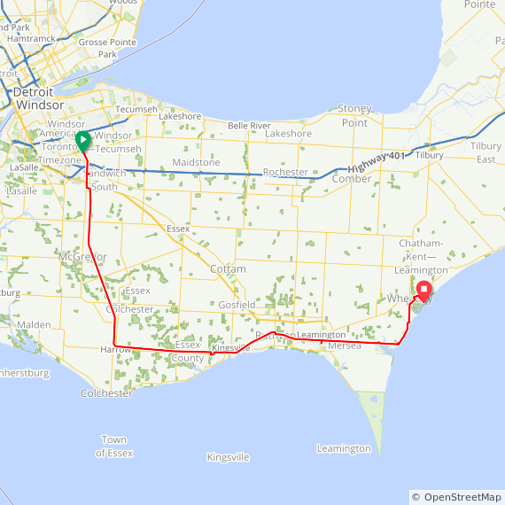 Windsor to Wheatley Provincial Park via Leamington