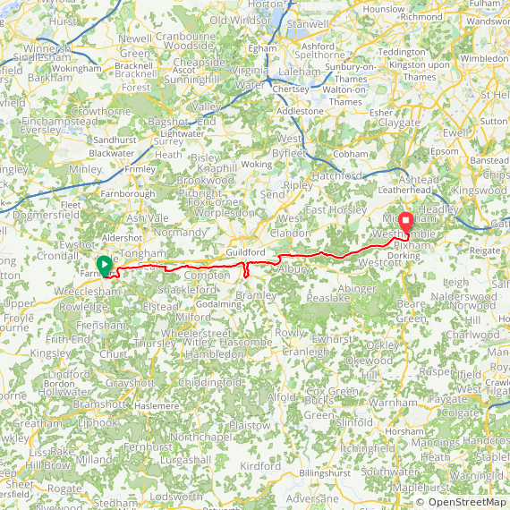 Map image of a Trip from August 11, 2019