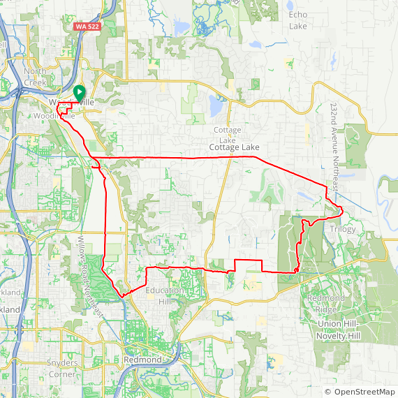 Map image of a Trip from January 17, 2015